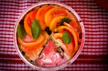 Camargue Tart: Rice crust, Brandade, Black Olives & Fresh Tomato topping