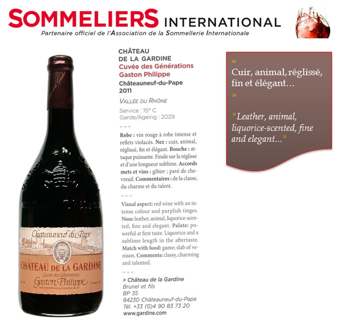 Chateau-de-la-gardine-CDP-Generations-Gaston-Philippe-Sommeliers-International-July2014